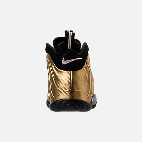Back view of Boys' Grade School Nike Little Posite Pro Basketball Shoes in Metallic Gold/Black/White