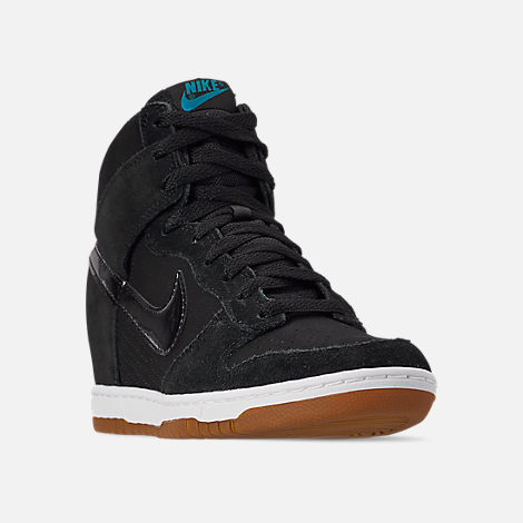 Three Quarter view of Women's Nike Dunk Sky High Essential Casual Shoes in Black/Black/Sail/Gum Medium Brown