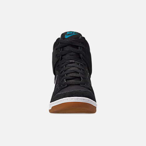 Front view of Women's Nike Dunk Sky High Essential Casual Shoes in Black/Black/Sail/Gum Medium Brown