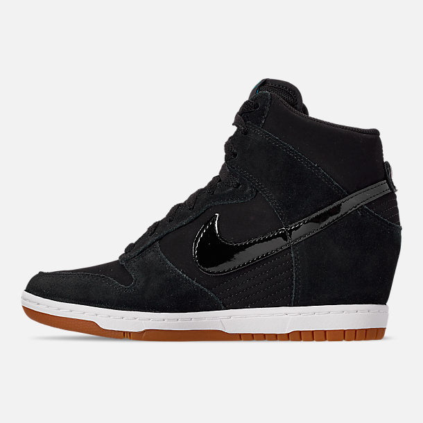 Left view of Women's Nike Dunk Sky High Essential Casual Shoes in Black/Black/Sail/Gum Medium Brown