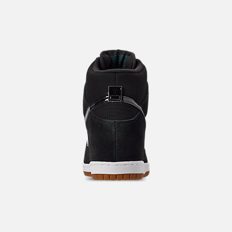 Back view of Women's Nike Dunk Sky High Essential Casual Shoes in Black/Black/Sail/Gum Medium Brown