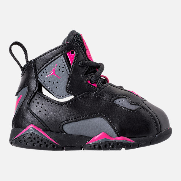 Right view of Girls' Toddler Jordan True Flight Basketball Shoes in Black/Dark Grey/Deadly Pink