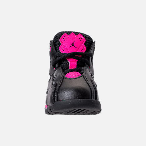 Front view of Girls' Toddler Jordan True Flight Basketball Shoes in Black/Dark Grey/Deadly Pink