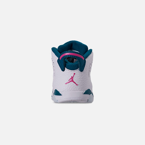 Back view of Girls' Toddler Air Jordan Retro 6 Basketball Shoes in White/Laser Fuchsia/Green Abyss