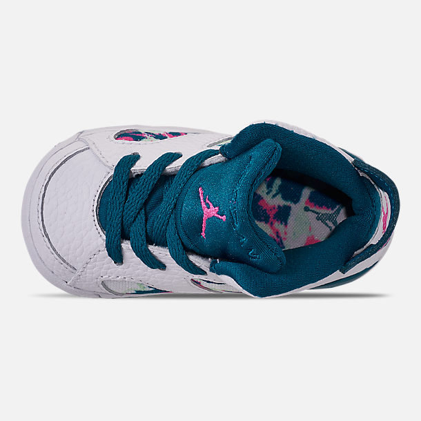 Top view of Girls' Toddler Air Jordan Retro 6 Basketball Shoes in White/Laser Fuchsia/Green Abyss