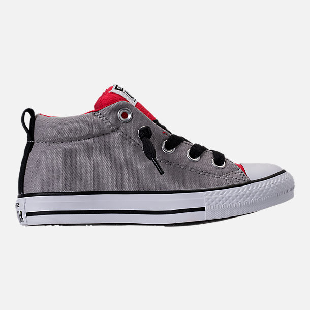 Right view of Boys' Preschool Converse Chuck Taylor Street Mid Casual Shoes in Dolphin/Red/Black