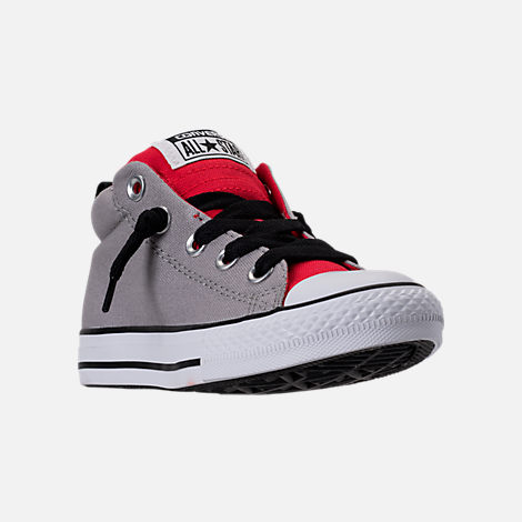 Three Quarter view of Boys' Preschool Converse Chuck Taylor Street Mid Casual Shoes in Dolphin/Red/Black