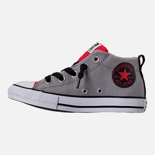 Left view of Boys' Preschool Converse Chuck Taylor Street Mid Casual Shoes in Dolphin/Red/Black