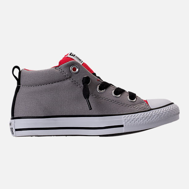 Right view of Boys' Grade School Converse Chuck Taylor Street Mid Casual Shoes in Dolphin/Red/Black