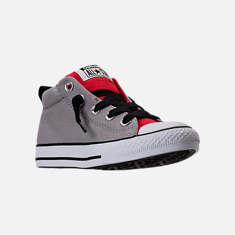 Three Quarter view of Boys' Grade School Converse Chuck Taylor Street Mid Casual Shoes in Dolphin/Red/Black