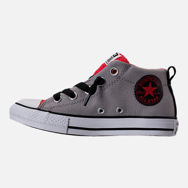 Left view of Boys' Grade School Converse Chuck Taylor Street Mid Casual Shoes in Dolphin/Red/Black