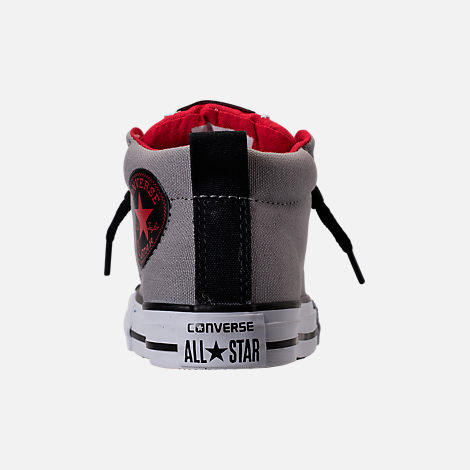 Back view of Boys' Grade School Converse Chuck Taylor Street Mid Casual Shoes in Dolphin/Red/Black