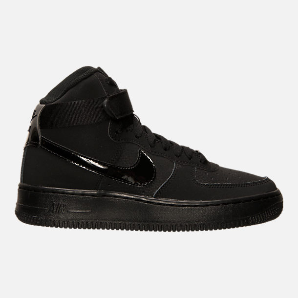 Right view of Big Kids' Nike Air Force 1 High Casual Shoes in Black/Black/Black
