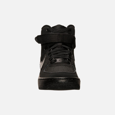 Front view of Big Kids' Nike Air Force 1 High Casual Shoes in Black/Black/Black