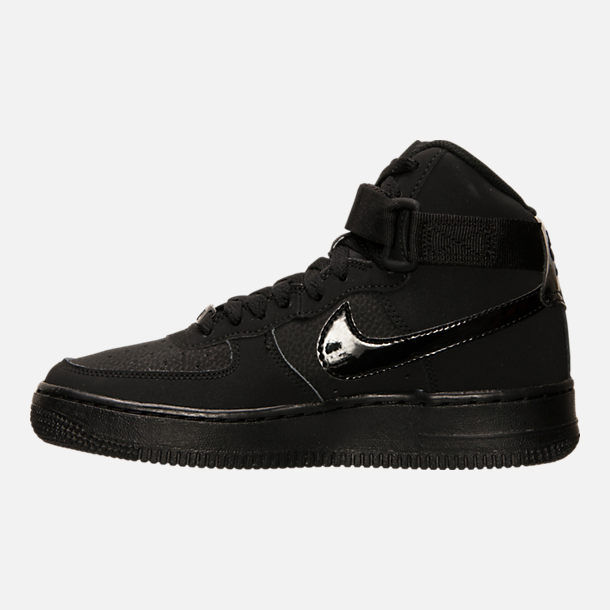 Left view of Big Kids' Nike Air Force 1 High Casual Shoes in Black/Black/Black