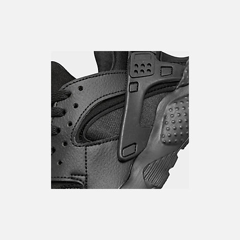 Front view of Kids' Grade School Nike Huarache Run Running Shoes in Black/Black/Black