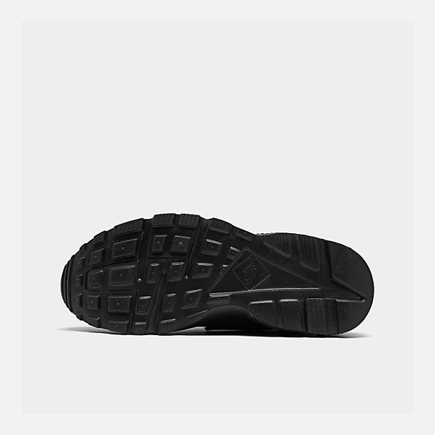 Bottom view of Kids' Grade School Nike Huarache Run Running Shoes in  Black/Black
