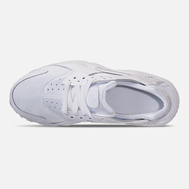 eccaf828a8757 Top view of Big Kids  Nike Huarache Run Casual Shoes in White Pure Platinum