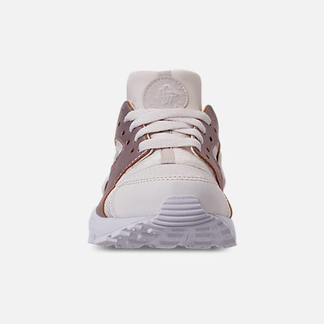 Front view of Girls' Big Kids' Nike Huarache Run Casual Shoes in Phantom/Metallic Red Bronze/White
