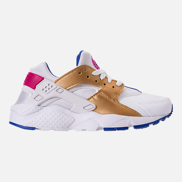 Right view of Girls' Big Kids' Nike Huarache Run Casual Shoes in White/Metallic Gold/Racer Blue