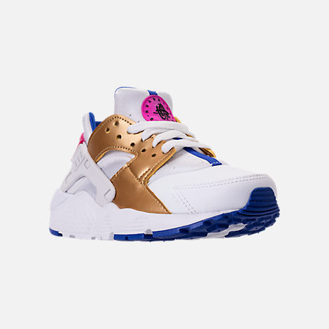 Three Quarter view of Girls' Big Kids' Nike Huarache Run Casual Shoes in White/Metallic Gold/Racer Blue