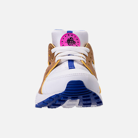 Front view of Girls' Big Kids' Nike Huarache Run Casual Shoes in White/Metallic Gold/Racer Blue