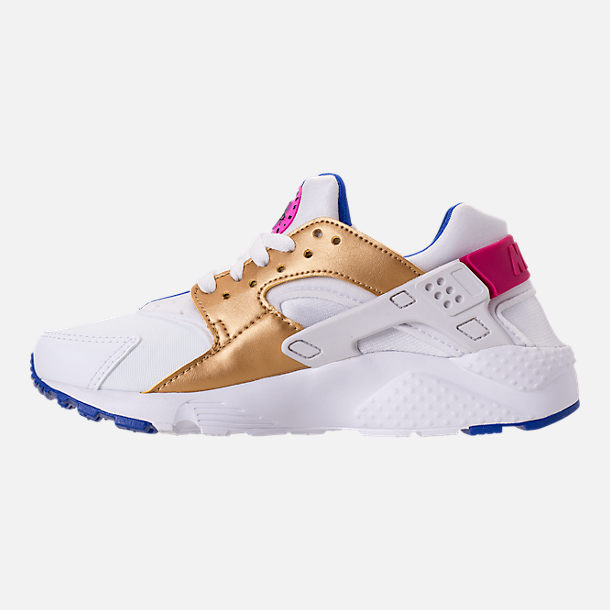 Left view of Girls' Big Kids' Nike Huarache Run Running Shoes in White/Metallic Gold/Racer Blue