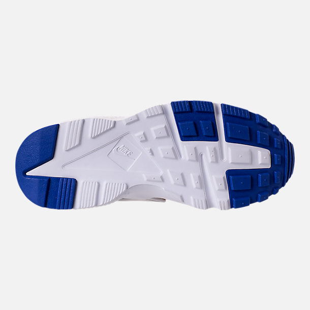 Bottom view of Girls' Big Kids' Nike Huarache Run Running Shoes in White/Metallic Gold/Racer Blue