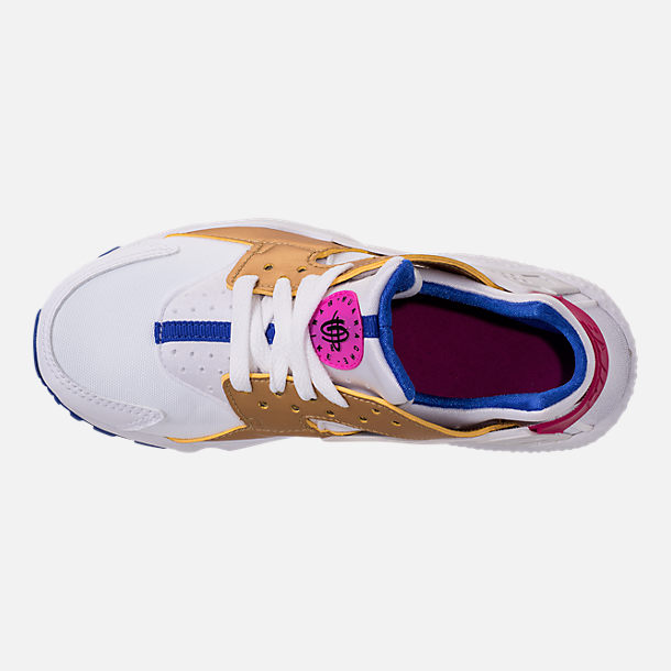Top view of Girls' Big Kids' Nike Huarache Run Casual Shoes in White/Metallic Gold/Racer Blue