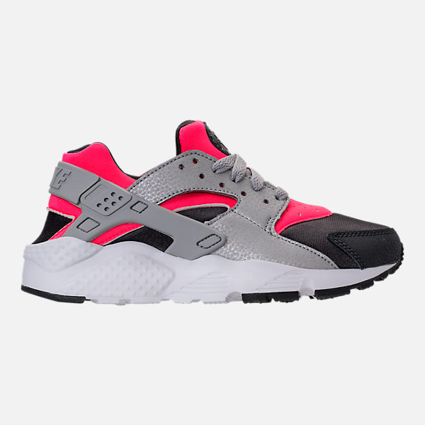 Right view of Girls' Grade School Nike Huarache Run Running Shoes in Hot Punch/Wolf Grey/Anthracite