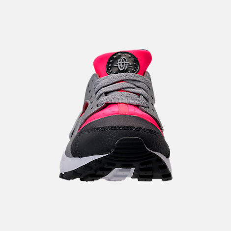 Front view of Girls' Grade School Nike Huarache Run Running Shoes in Hot Punch/Wolf Grey/Anthracite