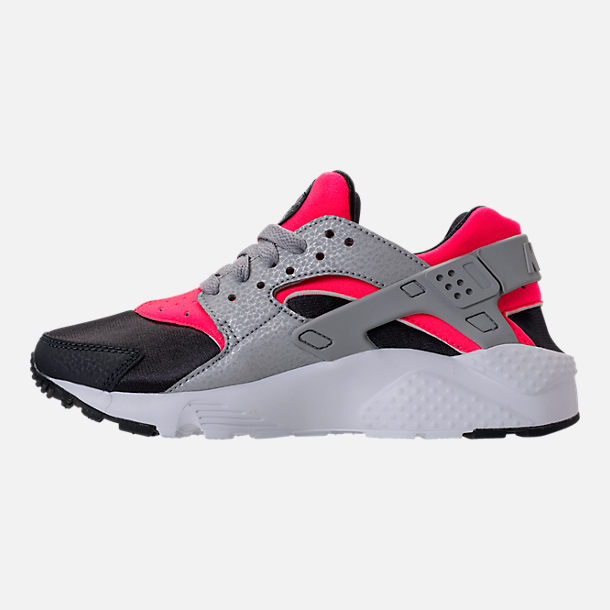 Left view of Girls' Grade School Nike Huarache Run Running Shoes in Hot Punch/Wolf Grey/Anthracite