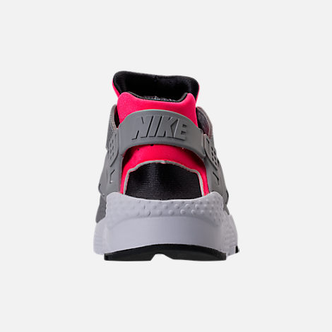 Back view of Girls' Grade School Nike Huarache Run Running Shoes in Hot Punch/Wolf Grey/Anthracite