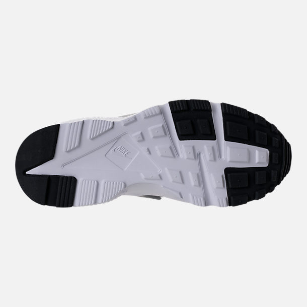 Bottom view of Girls' Grade School Nike Huarache Run Running Shoes in Hot Punch/Wolf Grey/Anthracite