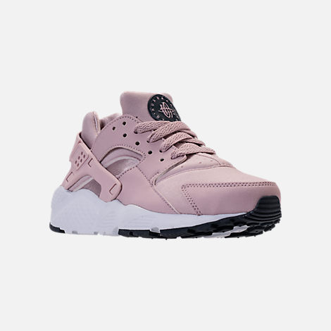 Three Quarter view of Girls' Grade School Nike Huarache Run Running Shoes in Particle Rose/Thunder