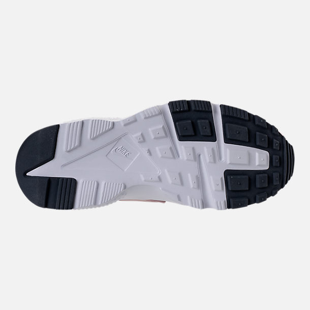 Bottom view of Girls' Grade School Nike Huarache Run Running Shoes in Particle Rose/Thunder
