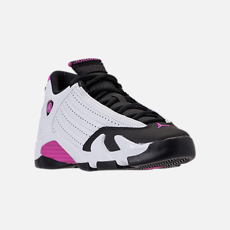 Three Quarter view of Girls' Big Kids' Air Jordan Retro 14 Basketball Shoes in White/Fuchsia Blast/Black