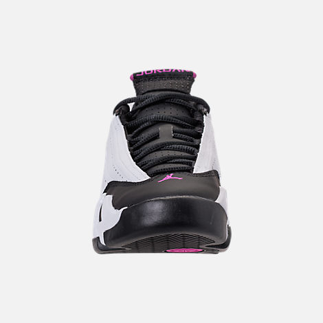 Front view of Girls' Big Kids' Air Jordan Retro 14 Basketball Shoes in White/Fuchsia Blast/Black
