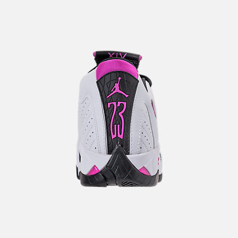 Back view of Girls' Big Kids' Air Jordan Retro 14 Basketball Shoes in White/Fuchsia Blast/Black