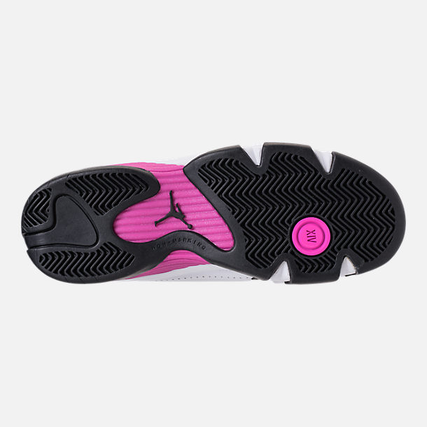 Bottom view of Girls' Big Kids' Air Jordan Retro 14 Basketball Shoes in White/Fuchsia Blast/Black