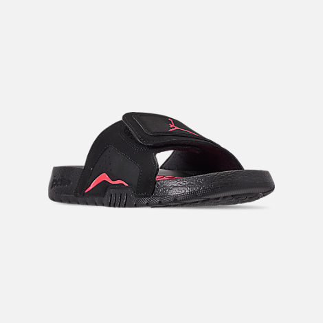Three Quarter view of Boys' Big Kids' Jordan Hydro Retro 6 Slide Sandals in Black/Infrared 23