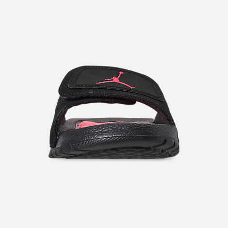 Front view of Boys' Big Kids' Jordan Hydro Retro 6 Slide Sandals in Black/Infrared 23