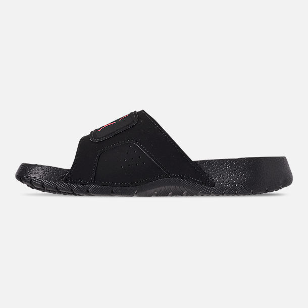 Left view of Boys' Big Kids' Jordan Hydro Retro 6 Slide Sandals in Black/Infrared 23