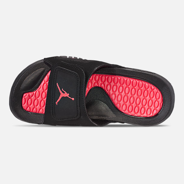 Top view of Boys' Big Kids' Jordan Hydro Retro 6 Slide Sandals in Black/Infrared 23