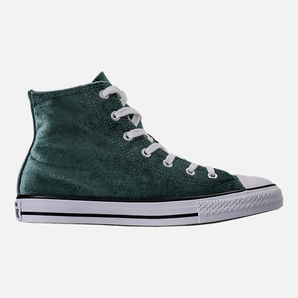 Right view of Girls' Grade School Converse Chuck Taylor High Top Velvet Casual Shoes in Deep Emerald/White