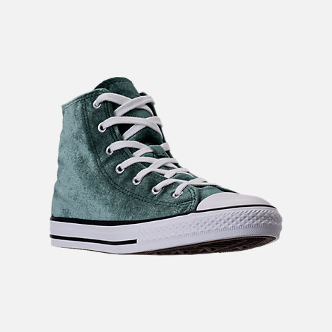 Three Quarter view of Girls' Grade School Converse Chuck Taylor High Top Velvet Casual Shoes in Deep Emerald/White
