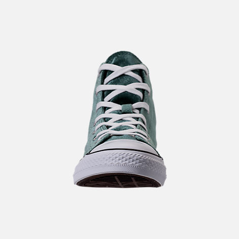Front view of Girls' Grade School Converse Chuck Taylor High Top Velvet Casual Shoes in Deep Emerald/White