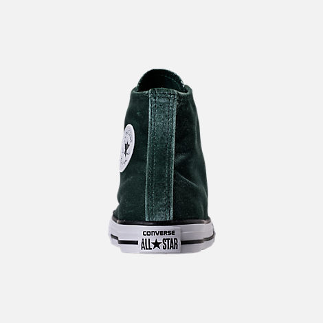 Back view of Girls' Grade School Converse Chuck Taylor High Top Velvet Casual Shoes in Deep Emerald/White
