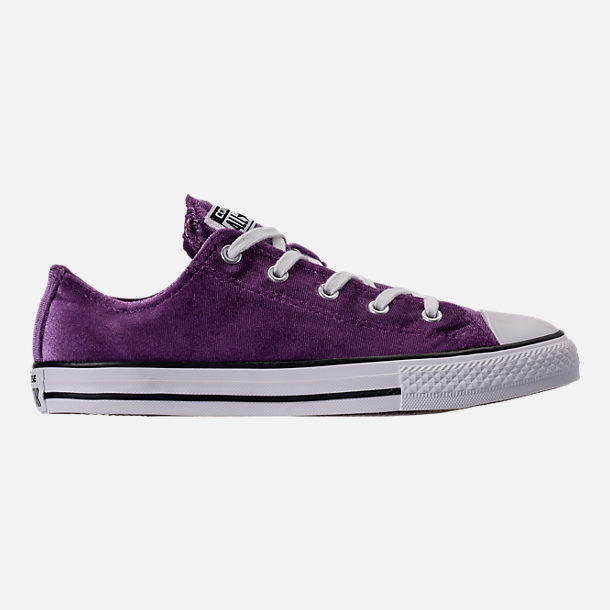 Right view of Girls' Grade School Converse Chuck Taylor Ox Velvet Casual Shoes in Night Purple/White/White