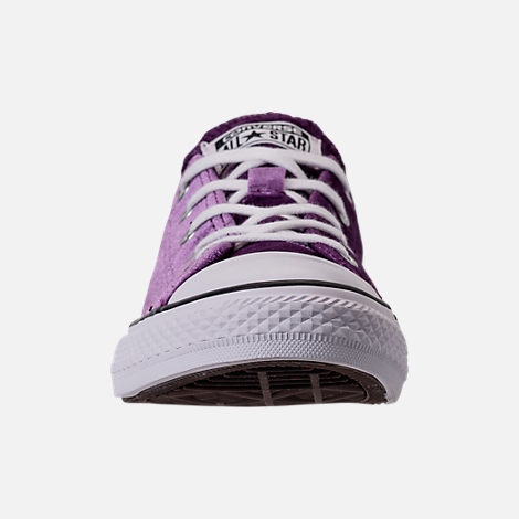 Front view of Girls' Grade School Converse Chuck Taylor Ox Velvet Casual Shoes in Night Purple/White/White